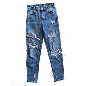 Zara Woman High Rise Relaxed Fit Distressed Jeans Size 2
